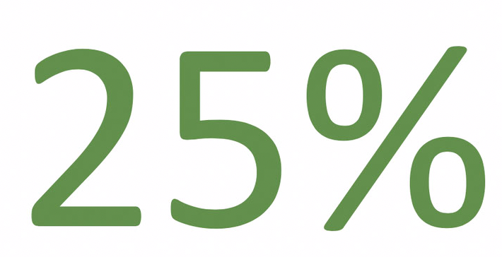 25% large green numbers